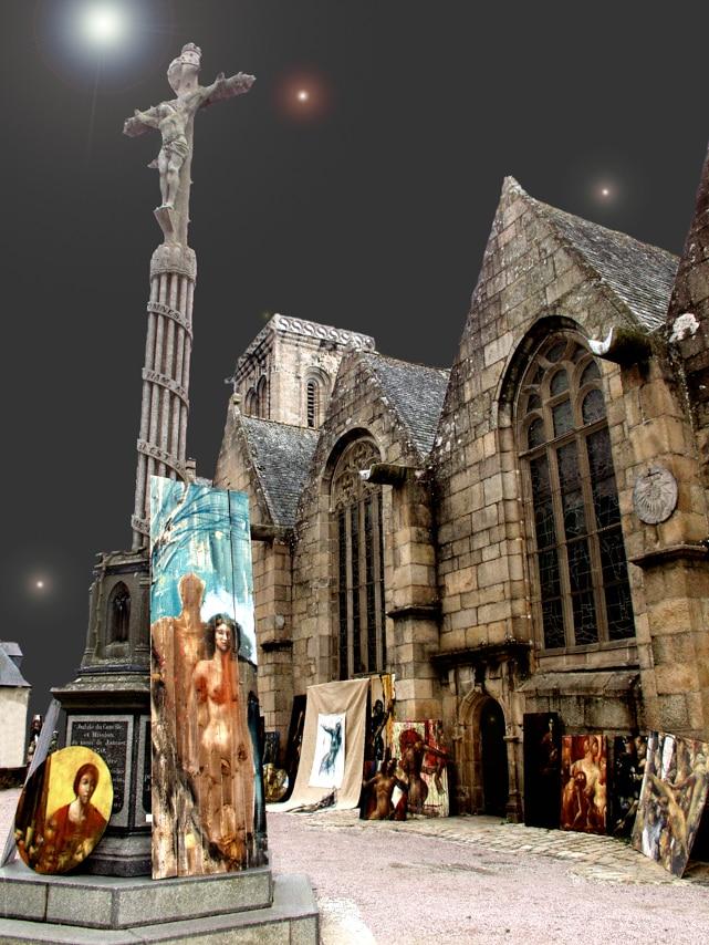 Peintures devant une belle et grande Eglise