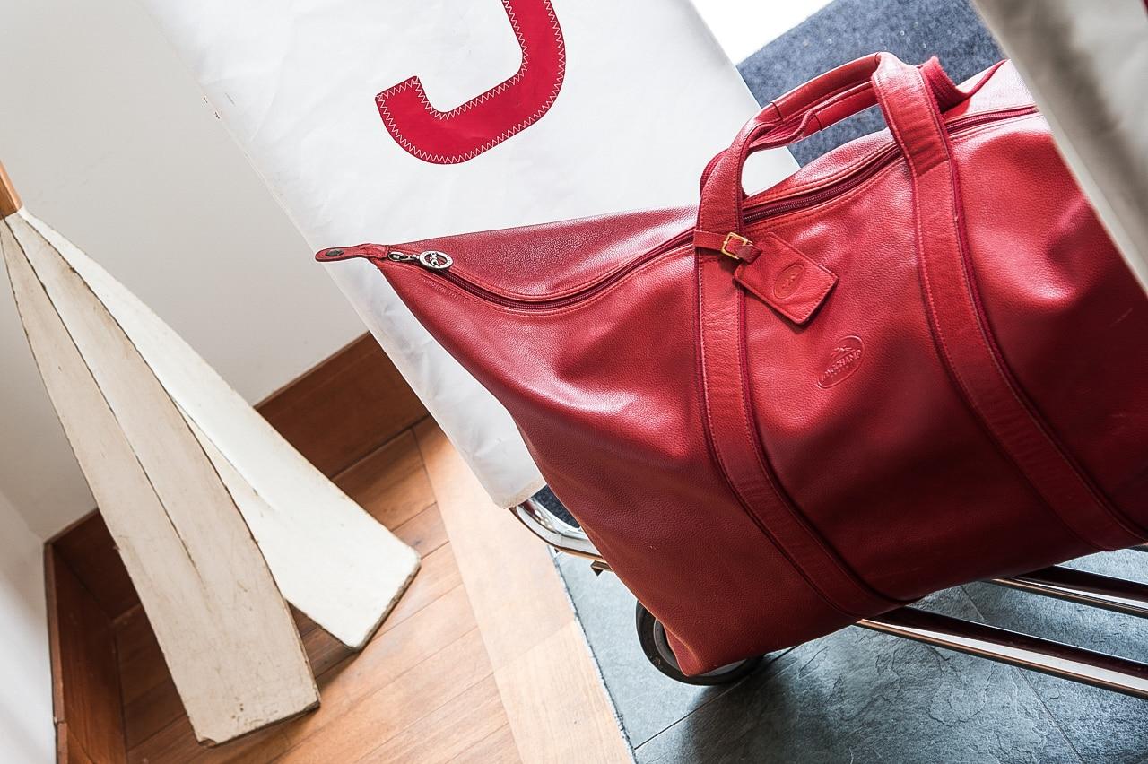 Sac de voyage en cuir rouge Longchamp