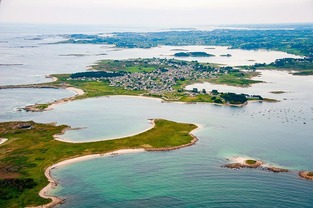 Vue aérienne de l'île Grande