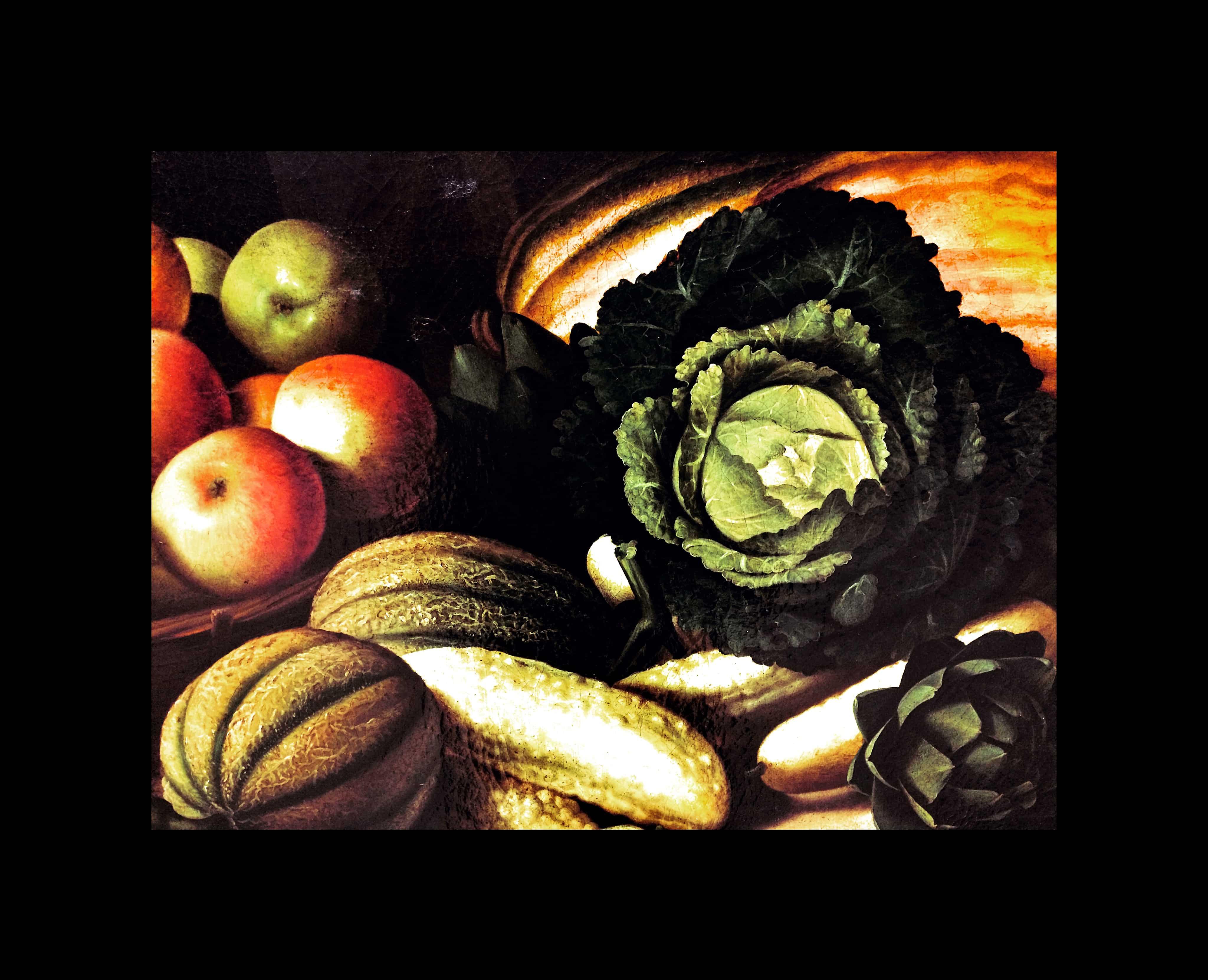 Peinture d'une nature morte avec fruits et légumes