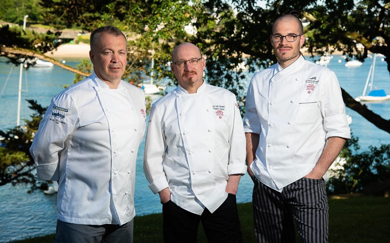 Le trio des chefs cuisiniers du restaurant Les Trois Rochers